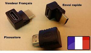 Adaptateur HDMI Mâle-Femelle 270° Angle droit vertical. Neuf vendeur FR 2-8
