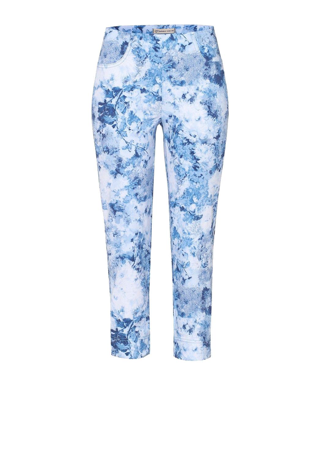 Stehmann Stretch 6 8 Hose Loli 602 W Slim florales Design Indigo blau  34-46 NEU