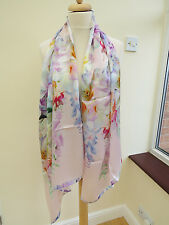 NEW!!!100% Silk Ted Baker Hanging Gardens Long Silk Scarf Pink - slight second