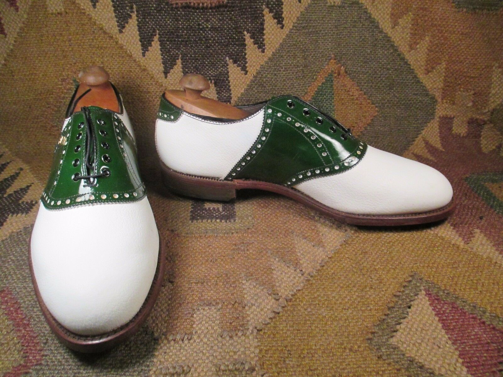 VTG FootJoy Two tone White & Green Saddle Saddle Green Oxford Golf shoes Size 10.5 EE ba54ac