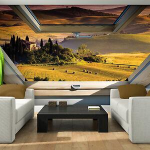 fototapeten fototapete tapete fenster toskana wiese foto natur blick 3fx10411p4 ebay. Black Bedroom Furniture Sets. Home Design Ideas