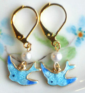#728B Vintage Bluebird Earrings Guilloche Enamel Gold Plated Dangle Bird Pearl