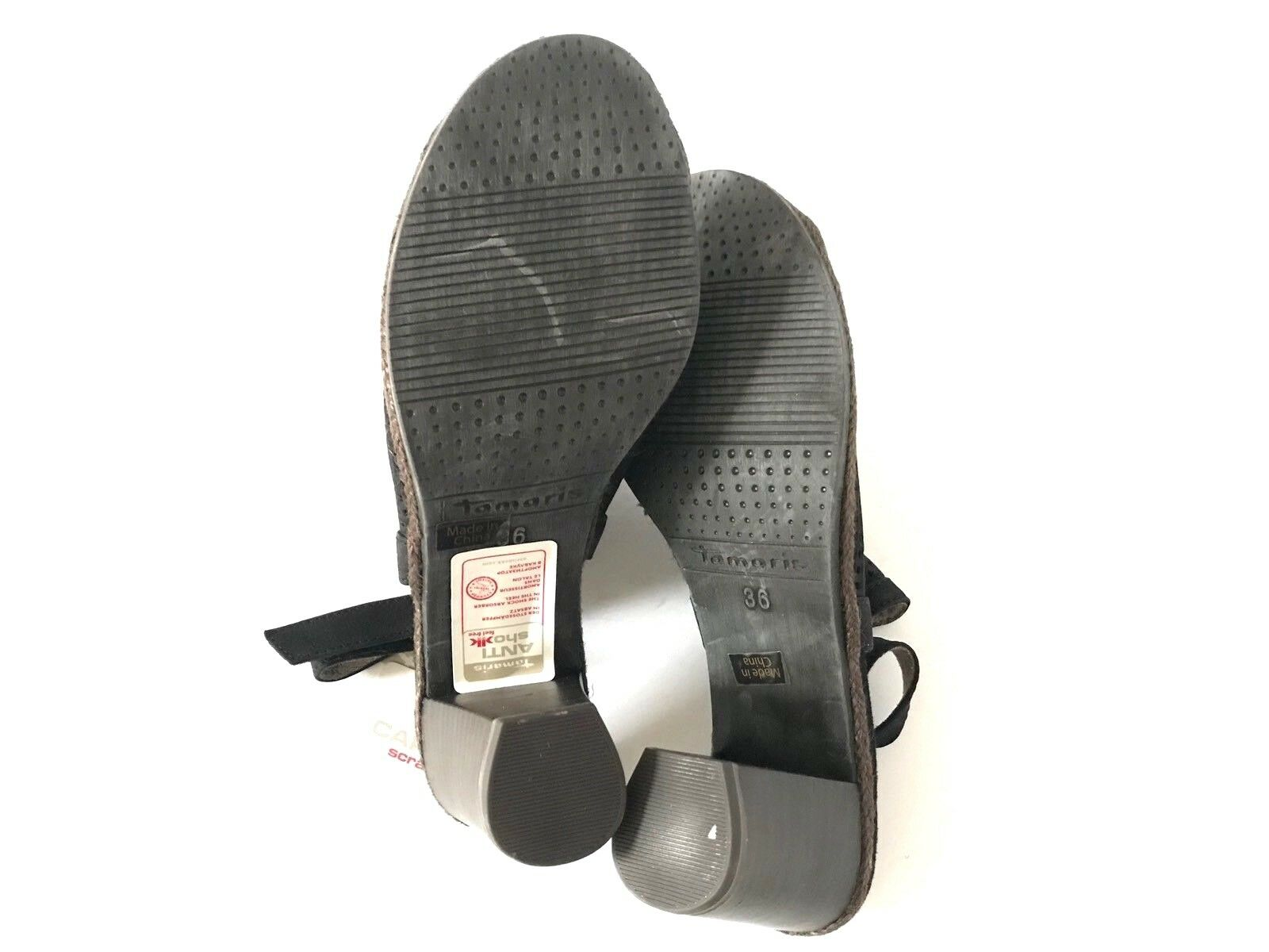 Tamaris Womens Size 5.5 Black Wortmann Peeptoe Sandals Slingback Block Heel