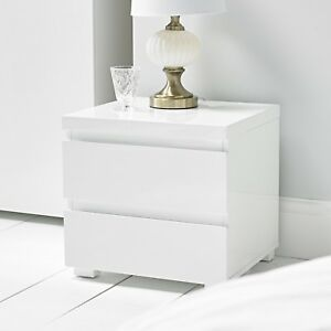 new style 00733 46f56 Details about HIGH GLOSS CONTEMPORARY WHITE 2 DRAWER BEDSIDE LAMP TABLE  CABINET DRAWERS