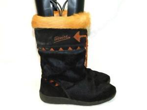 Détails sur Vintage technica taille 38 7 7.5 noir fourrure brun bottes hiver Apres Ski Italie afficher le titre d'origine
