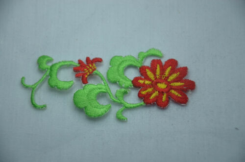 RED YELLOW FLOWER TRIMMING 7cm Embroidery Sew Iron On Cloth Patch Badge APPLIQUE