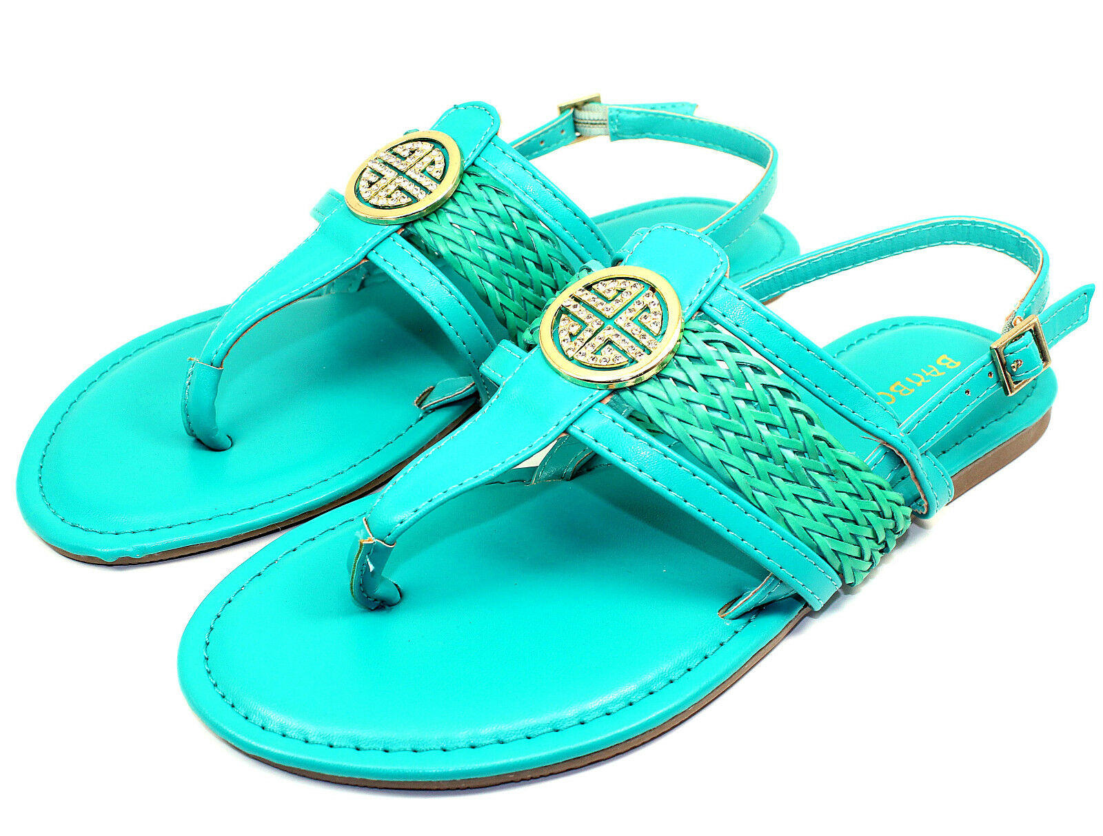 Nadya-15 Sandals Gladiator Buckles Flats Strappy Sandals Nadya-15 Women Shoes Sea Green 5.5 60d962