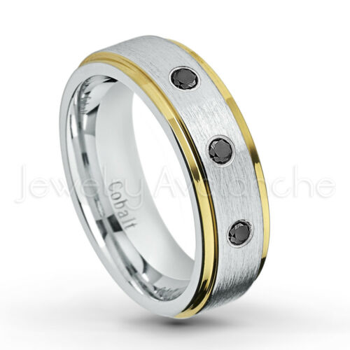 0.21ctw Black Diamond 3-stone Band Ladies 2-Tone Cobalt Chrome Wedding Band