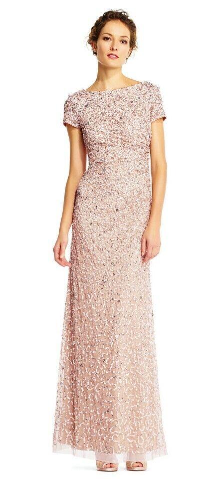 Adrianna Papell Beaded Cowl-Back Gown * 6 NWT Bridesmaid Gala Blush Short Sleeve