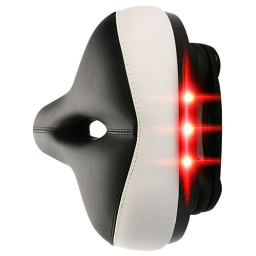 Most Bike Seat Shock Absorbing Wide Bicycle Saddle Soft Cushion Pad w//Taillight