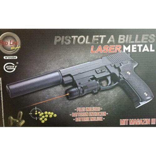 pistolet a billes metal 20 x 14 cm avec silencieux laser 0.5 joules 51054