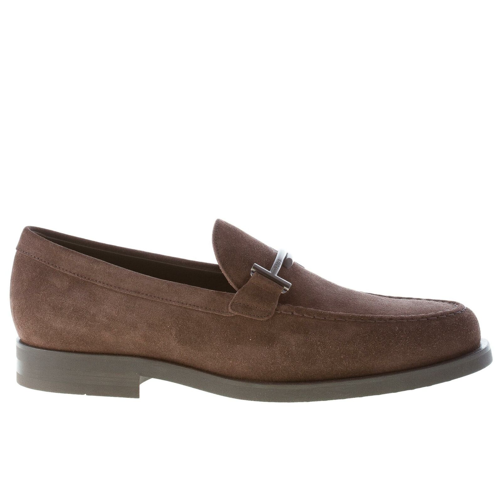 TOD'S men chaussures dark marron suede almond toe loafer with metal double T