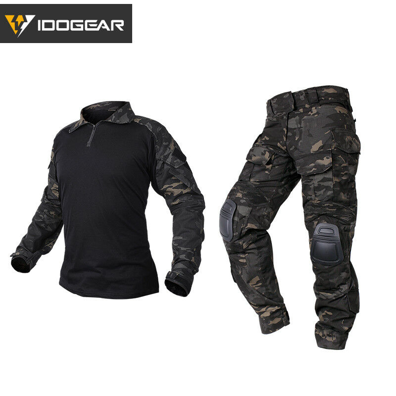 IDOGEAR G3 Combat Uniform Shirt & Pants BDU Set w  Elbow&Knee Pads Hunting Gear