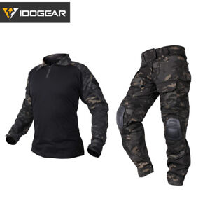 IDOGEAR-G3-Combat-Uniform-Shirt-amp-Pants-BDU-Set-w-Elbow-amp-Knee-Pads-Hunting-Gear