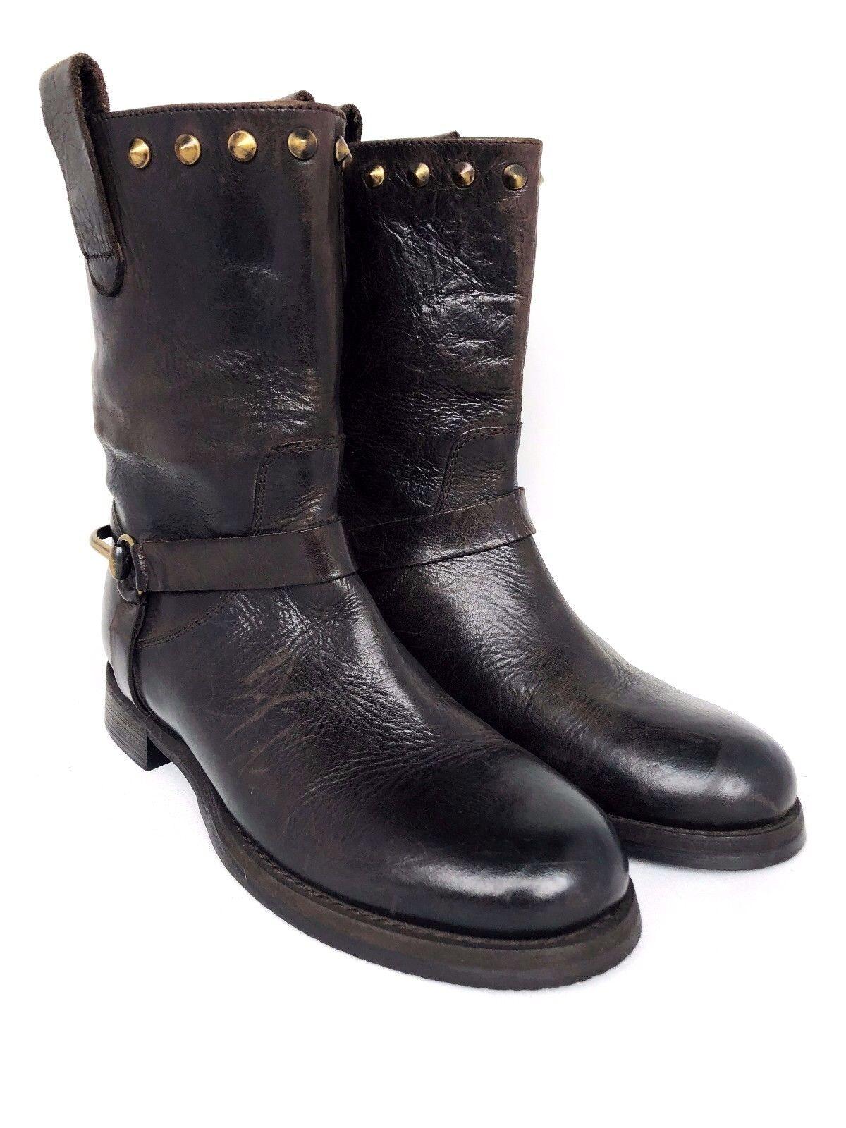 8645ea99 Boemos Marrón Cuero Tachonado botas Mitad de Pantorrilla Tire de hecho en  Italia M
