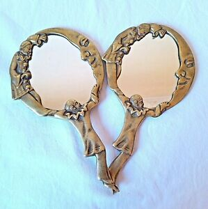 1960s-Antique-Vintage-Art-Deco-2-Brass-Mirrors-Nicely-made-Dreams-Design