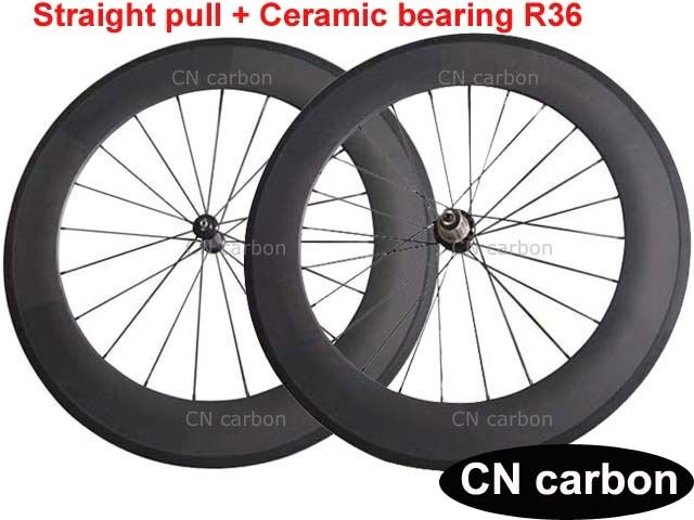 Ceramic bearing R36 hub 88mm Clincher carbon road bike wheels 23mm 25mm
