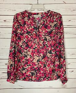 Loft-Women-039-s-XS-Extra-Small-Pink-Floral-Button-Long-Sleeve-Cute-Top-Blouse-Shirt