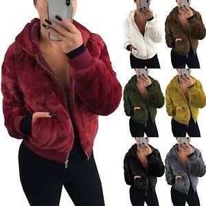 Damen Kapuzenjacke Teddyfell Mantel Teddyjacke Winterjacke Parka Jacke Outwear