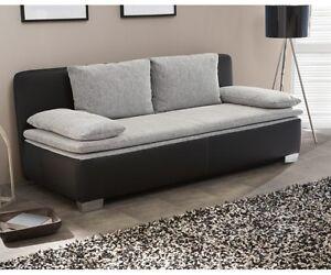schlafsofa sofa 2 sitzer bettsofa couch mit bettfunktion duett schwarz grau ebay. Black Bedroom Furniture Sets. Home Design Ideas