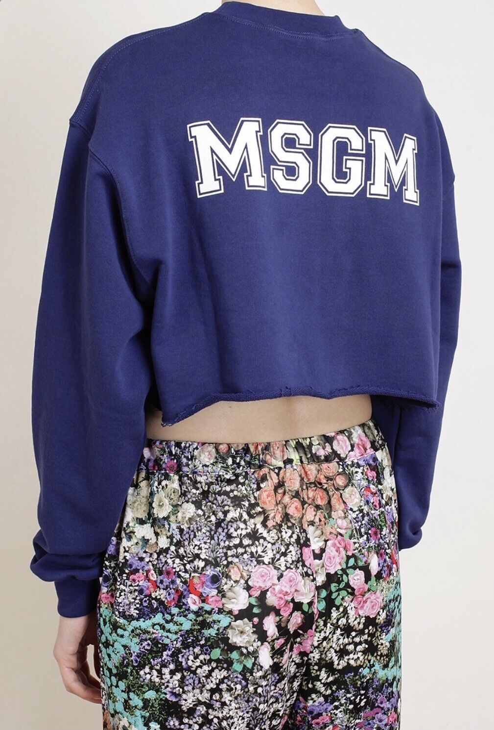 MSGM 1993 Modif Logo Navy bluee Cropped Sweatshirt XS
