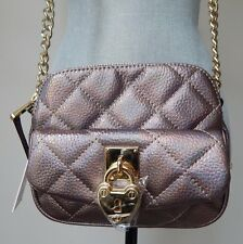 NWT AUTHENTIC Juicy Couture Iridescent Pewter Double Zip Top Mini Crossbody Bag