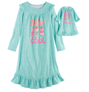 Snow-Cool-Fleece-Long-Sleeve-Nightgown-amp-Doll-Gown-Set-Girls-size-XS-5-6