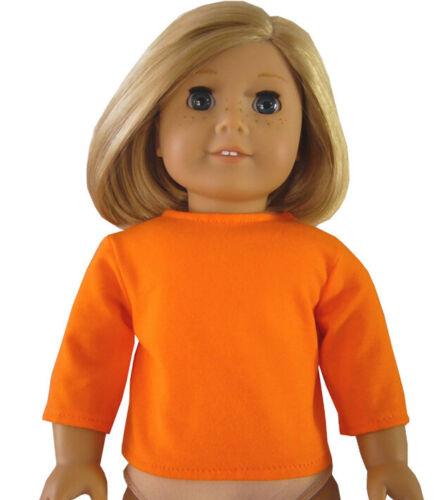 """SNAP CLOSURE Orange T-Shirt 3//4 Sleeve Length for 18/"""" American Girl Doll Clothes"""