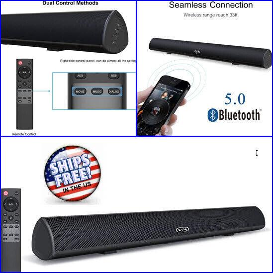 10W Wireless Sound Bar for Smart TV 4K Bluetooth Samsung Sony Apple iPhone