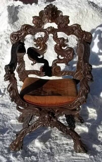 THE BEST CARVED ITALIAN ANTIQUE CHERUB SAVONA ROLA ESTATE CHAIR - DR104