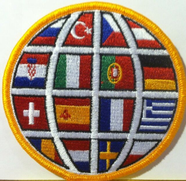 Soccer Ball, With Country Flags Embroidered Iron-On Patch Flag Emblem
