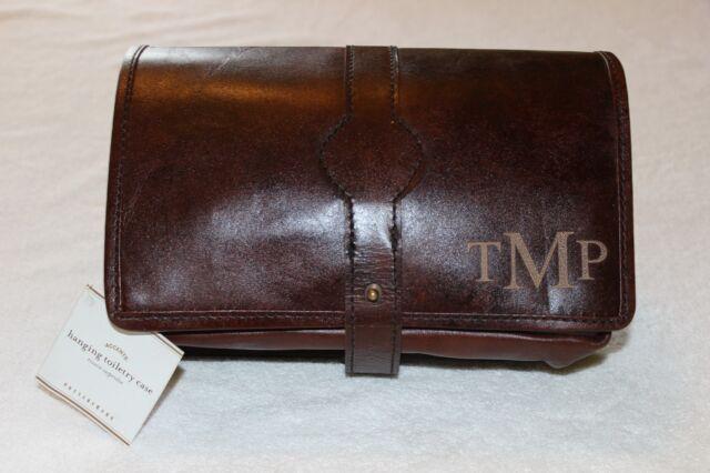 4b1117589b8e PotteryBarn Travel Saddle Leather Hanging Toiletry Case Bag NWT Free Ship