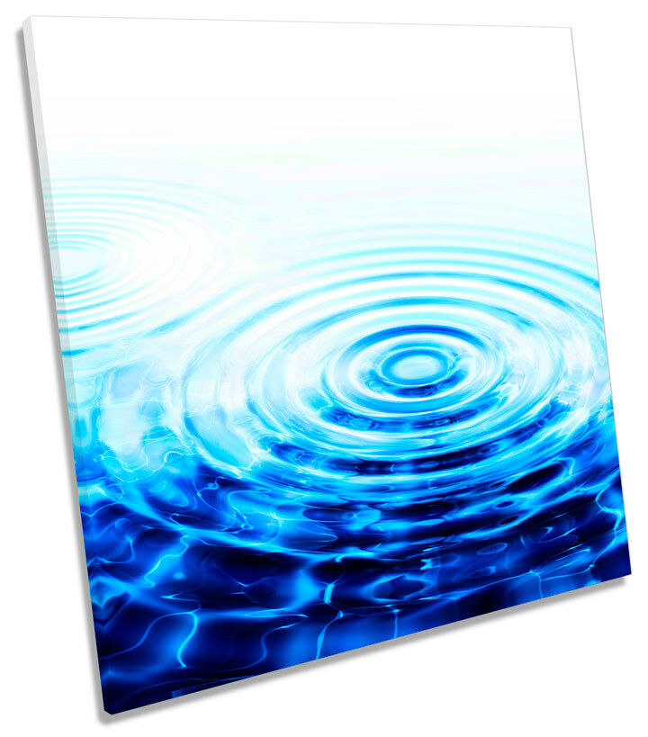 Abstract Water Ripple Blau SQUARE BOX FRAMED CANVAS Kunst Bild