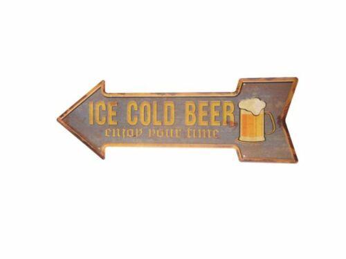 ICE COLD BEER 17 X 7 ARROW TIN SIGN METAL BAR POSTER WALL ART