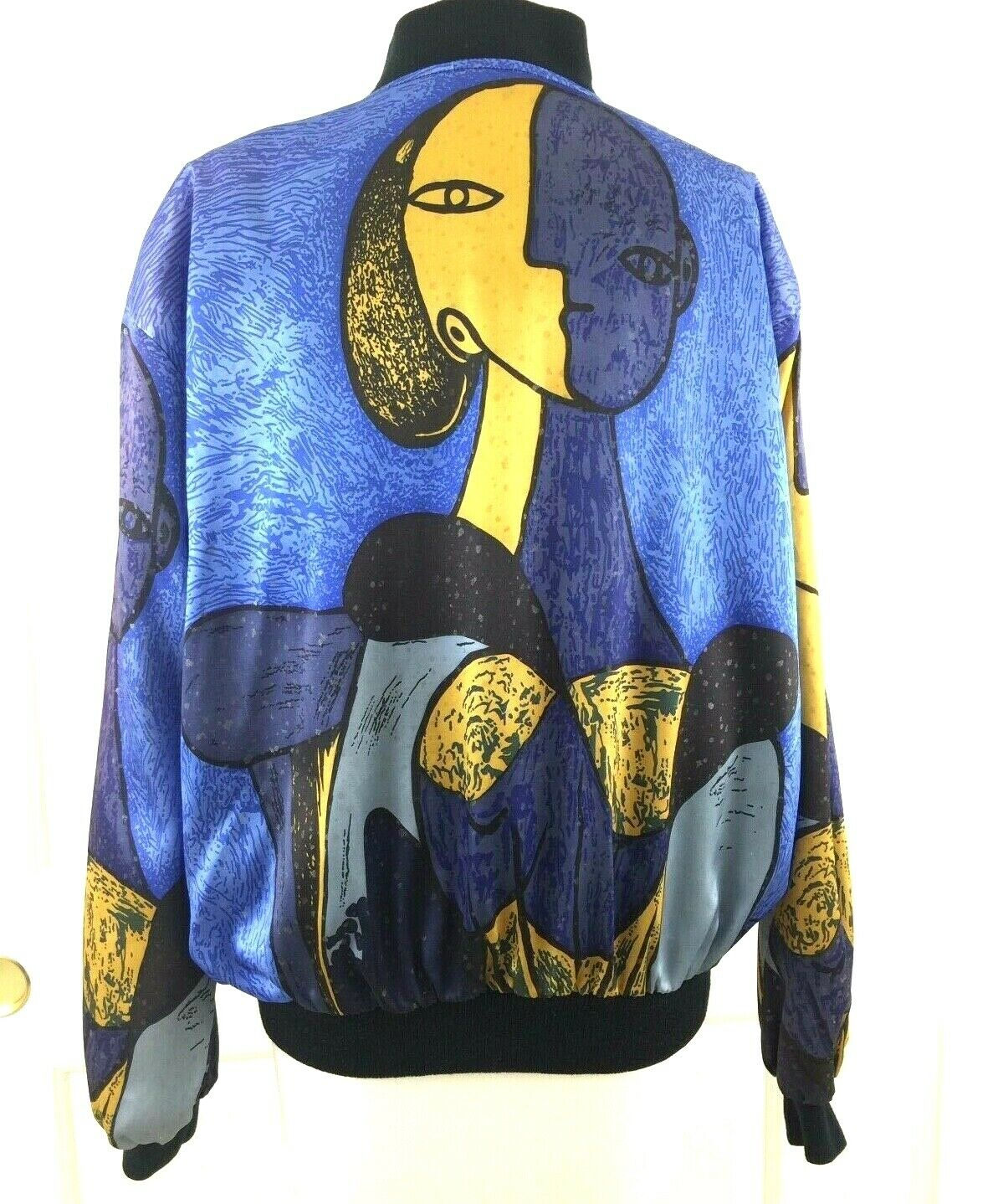 Vtg 80s Picasso Bomber Jacket Satin Windbreaker Art Women M L Fresh Prince Blue