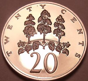 Coins Central America Cheap Sale Large Rare Proof Jamaica 1976 20 Cents~mahoe Trees~24,000 Minted Cheap Sales