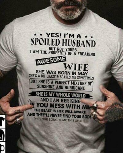 I/'m A Spoiled Husband Of A Freaking Awesome May Wife Tshirt Men Sport Grey
