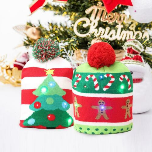 Personalised LED Knitted Christmas Hat Warm Protective Cap Decoration Xmas Party
