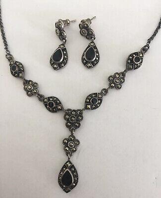 Vintage Sterling Silver 925 Art Deco Style Long Black Onyx Marcasite Gemstone Petal Teardrop Design Drop Dangle Earrings