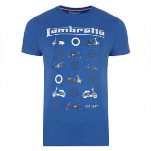 LAMBRETTA-Da-Uomo-Royal-Blue-Multi-SCOOTER-Mod-Ska-T-Shirt-Casual-SS0750-VENDITA-15