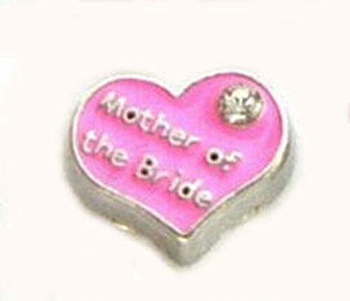 MOTHER OF THE BRIDE Heart Pink Enamel Wedding Floating Charm for Memory Lockets