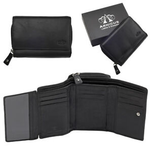 Ladies-Womens-Luxury-Super-Soft-Genuine-Leather-RFID-Blocking-Wallet-Purse-Black