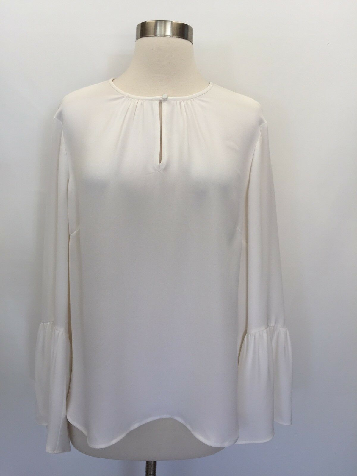 New G2467 J.CREW Ivory Silk Bell-Sleeve Top Blouse Größe 14  Sold Out