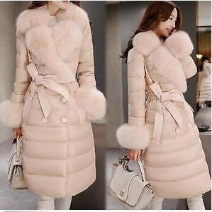 Women-Lady-Winter-Warm-Coat-Jacket-Fur-Collar-Length-Cotton-Down-Belt-BowknotE98