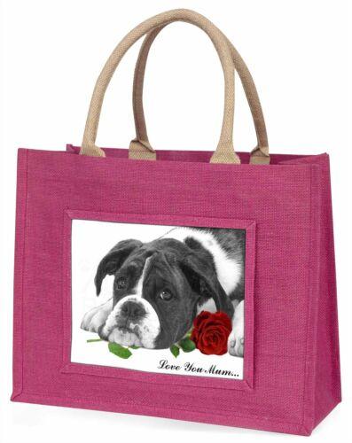B+W Boxer Dog /'Love You Mum/' Large Pink Shopping Bag Christmas AD-B41R2lymBLP