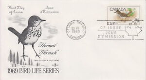 CANADA-498-25-HERMIT-THRUSH-ON-ROSE-CRAFT-CACHET-FIRST-DAY-COVER