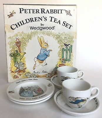 Wedgwood Peter Rabbit 6 Piece Children's Tea Set England Original Box