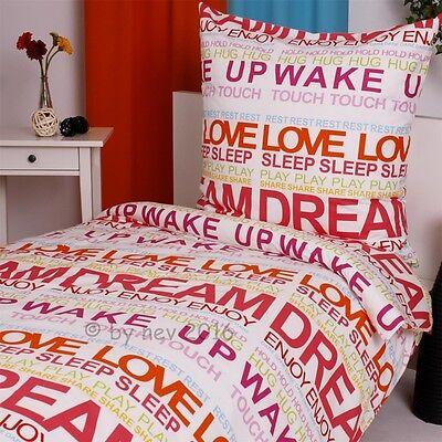 Bettwaren, -wäsche & Matratzen Modestil BettwÄsche Set Dream Sleep Wake Up Baumwolle Garnitur 135x200 Bettbezug Neuware Wir Haben Lob Von Kunden Gewonnen Bettwäschegarnituren