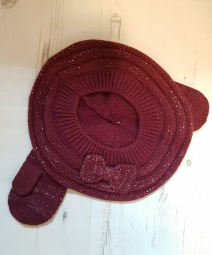 MOTHERCARE GIRLS BERET HAT AND GLOVES SET PLUM BRAND NEW