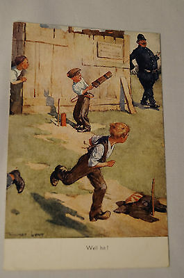 Vintage - Comic - Cricket - Postcard - Well Hit.